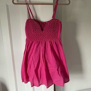 Hot pink mini dress with beaded details